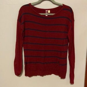 Red and navy long sleeve sweater